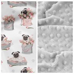 Kleinkind-Decke Sweet Bulldogges mit hellgrauem Minky