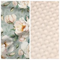 Kinder-Schlafkissen Minty Flowers mit beigem Minky