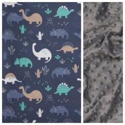 Kinder-Decke Dino Family mit dunkelgrauem Minky