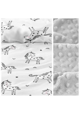 Kleinkind-Decke Little Birds mit hellgrauem Minky