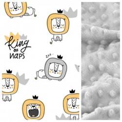Kinder-Schlafkissen King of Naps mit hellgrauem Minky