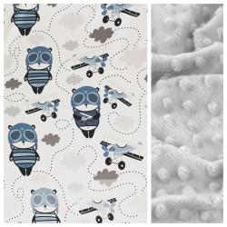 Kinder-Decke Panda Pilot mit hellgrauem Minky