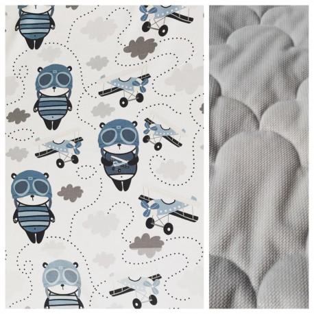 Velvet Kinder-Decke Panda Pilot mit hellgrauem Minky