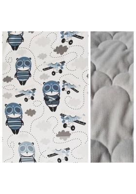 Velvet Kleinkind-Decke Panda Pilot mit hellgrauem Minky