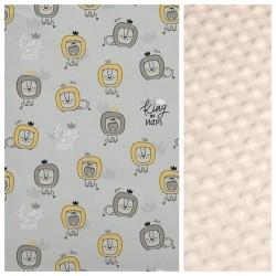 Kinder-Schlafkissen Grey King of Naps mit beigem Minky