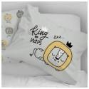 Kuschel-Kopfkisen Grey King of Naps mit beigem Minky