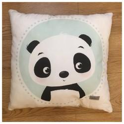 Kuschel-Kopfkisen Sweet Panda  mit hellgrauem Minky