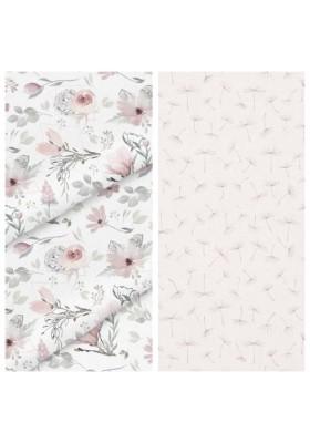 Kleinkind-Decke Pastel Flower mit hellgrauem Minky