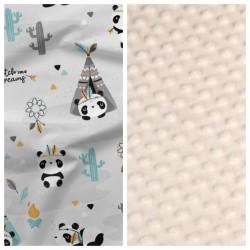 Kinder-Decke Tipi & Panda mit beigem Minky