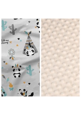 Babykokon Panda Pilot mit hellgrauem Minky